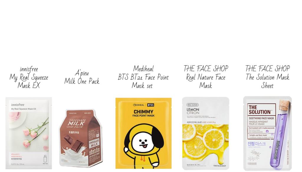 Populair Korean sheet masks